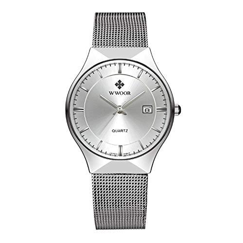 CXJC Reloj de negocios de los hombres ultrafino de 9 mm de espesor, reloj de cuarzo de deportes de la correa de malla de los hombres, reloj de cuarzo a prueba de agua, espejo de reloj reforzado minera