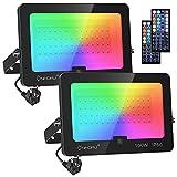 Onforu 100W Foco RGB Led (2 Pack), Foco Colores con Control Remoto, Foco led Interior de Cambio Color, Foco Led Exterior IP66 Impermeable con Temporizador, Función de Memoria para Fiesta Jardín Patio