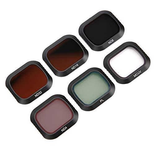 Zunate Filtros de Lente de cámara, 6 en 1 UV CPL ND4 ND8 ND16 ND32 Juego de filtros de Lente Funda Protectora de cámara de acción de Vidrio óptico con Estuche de Almacenamiento, para dji Mavic 2 Pro