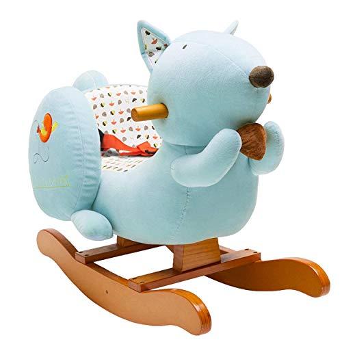 labebe - Baby Rocking Horse, Kid Ride on Toy, Toddler Rocker for 1-3 Year Old, Girl&Boy Wooden Rocking Horse, Outdoor&Indoor Rocking Toy, Infant Rocking Animal, Ride on Animal Rocker - Blue Squirrel