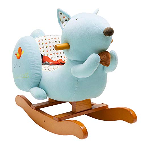 labebe - Baby Rocking Horse, Kids Ride on Toy, Wooden Riding Horse for 1-3 Years Old Boy&Girl, Toddler/Child Outdoor&Indooor Toy Rocker, Plush Stuffed Animal Rocker Chair, Infant Gift - Blue Squirrel
