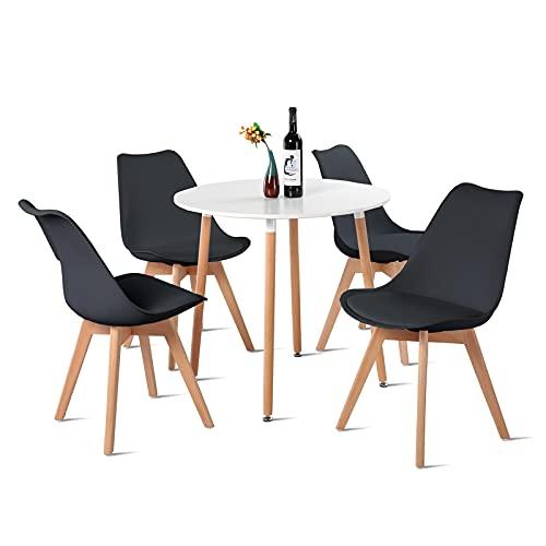 H.J WeDoo Esstisch mit 4 Stühle Essgrupp Holztisch und Schwarz Skandinavisches Stuhl Esstisch Set für Esszimmer Küche 80cm