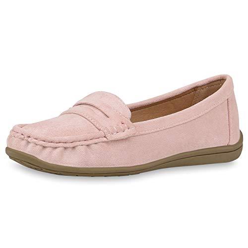 SCARPE VITA Damen Slipper Mokassins Wildleder-Optik Slip On Schuhe Bequeme Freizeitschuhe Profilsohle Flats 187687 Rosa Rosa Total 39