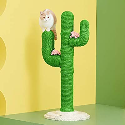 "VETRESKA 31"" Tall Cactus Cat Scratching Post, Claw Scratcher with Sisal Rope, Vertical Durable Cat Scratch for Kitten and Cat"