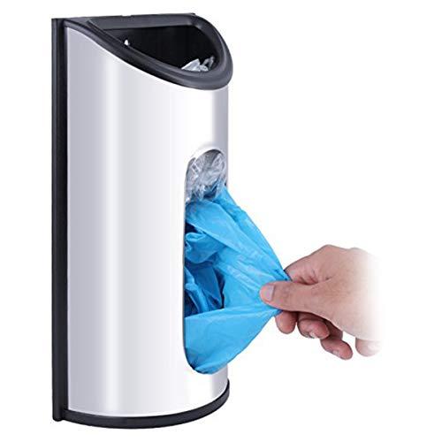 FAMKIT Dispensador del soporte de la pared del acero inoxidable del tenedor del bolso de comestibles para las bolsas plásticas para