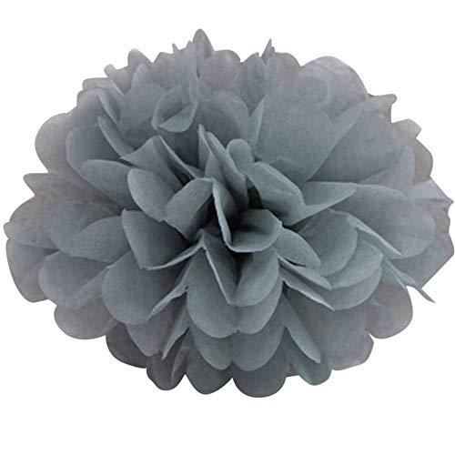 Tiranranrt Wohnkultur Pom Poms Flower Balls Flauschige Hochzeitsfeier Dekoration Seidenpapier Pompons(Silber)