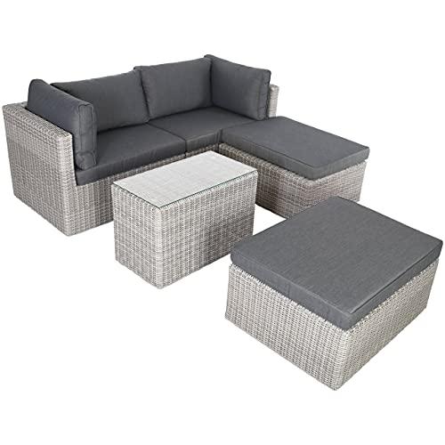 Raburg XL Gartenlounge ADAN in Stein-GRAU-MELIERT - 5-TLG. Premium Alu & Poly-Rattan mit Polster-Set in Schiefer-DUNKEL-GRAU, Tisch mit Glasplatte, Sitzgruppe + Sofa für 2-4 Personen