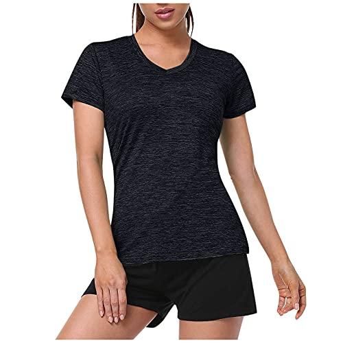 VEMOW Camiseta de Entrenamiento de Manga Corta para Mujer, Gym Camiseta Blusas y Camisa Absorbe la Humedad de Deportiva Ropa de Yoga Fitness Culturismo Tshirt Tops Multipack