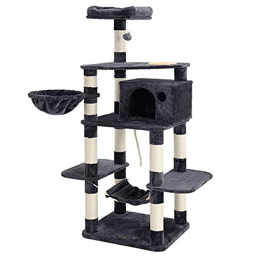 FEANDREA 63.8 inches Sturdy Cat Tree with Feeding Bowl, Cat Condos with Sisal Poles, Hammock and Cave, Padded Platform, Climbing Tree for Cats, Extra Large, Anti-toppling Devices, Smoke Gray, UPCT99G