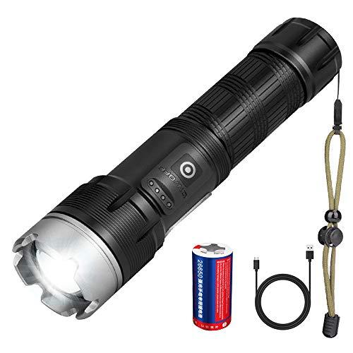 Torcia LED XHP90 Ricaricabile, Torcia LED Super Luminosa 15000 Lumen con Batteria 26650 da 6800 mAh, 7 Modalità di Illuminazione, Torcia Tattica Zoomabile per Escursionismo, Campeggio, Emergenza