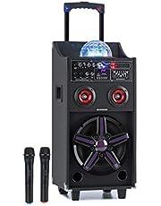 "auna Pro DisGo Box 100 Equipo de PA - Subwoofer de 10"", Tweeer de 3"", 50 W, Luces LED, Bluetooth, USB, Puerto USB, batería de 4,5 A 12V, 2 micrófonos UHF, mandoa Distancia, asa Extraible, Negro"
