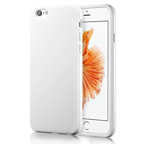 technext020 iPhone 6S White Case, Shockproof Ultra Slim Fit Silicone TPU Soft Gel Rubber Cover Shock Resistance Protective Back Bumper for iPhone 6 White