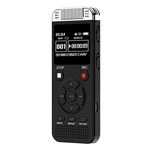 Digital Voice Recorder 32G Voice Activated Recorder for Lectures Meetings Class, 1536kbps Stereo HD-Audio Recording Device with Playback - Rechargeable - Black