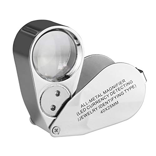 Beileshi 40X Illuminated Jeweler LED and UV Lens Loupe Magnifier with Metal Construction and Optical Glass with a Durable and Sturdy Travel Carrying Case