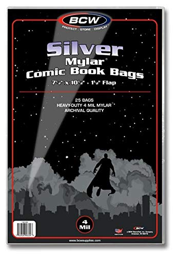 BCW Silver Comic Mylar Bags 4 Mil - Comics, Comic Books Storage Collecting Supplies