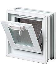 Ventana practicable: para el montaje en la pared de bloques de vidrio - 239x239mm, en lugar de 1 bloque de cristal 24x24x8 cm