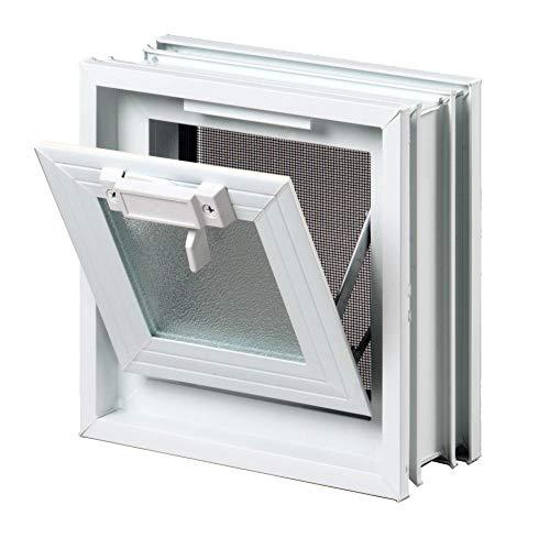 FUCHS Lüftungsfenster anstatt 1 Glasstein im Format 24x24x8 cm – mit Fliegengitter