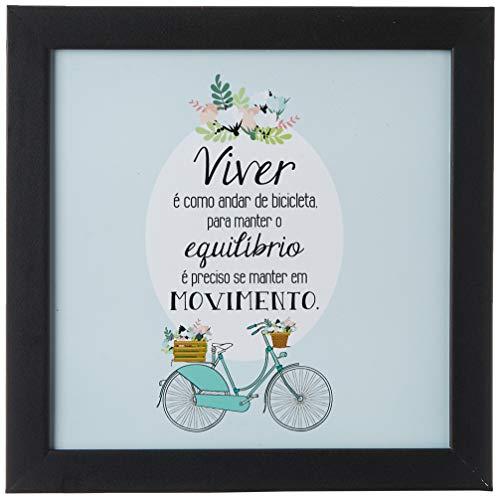 Arte Maníacos Quadro Decorativo Viver É Como Andar de Bicicleta - 46x32,5cm (Moldura em laca preta)