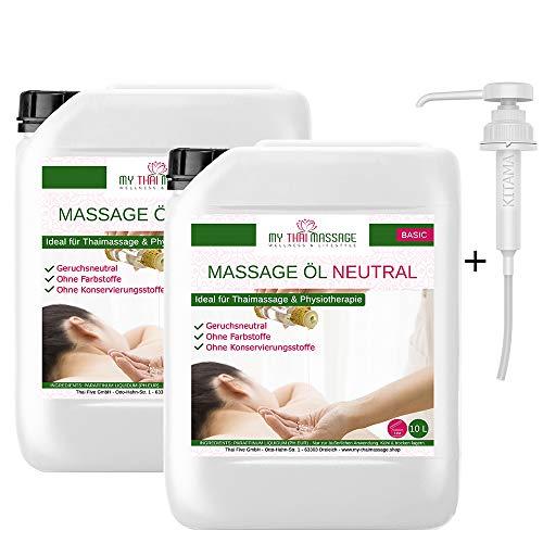 Kitama Olio di Massaggio neutro 20 litri (2 x 10l) con rubinetto tap - Olio per massaggio Thai, Fisioterapia Spa, olio di base senza profumo