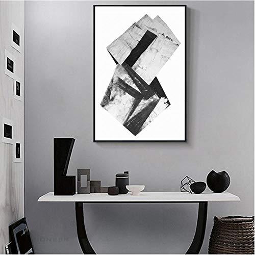 Rjunjie abstracte schilderijen in wit en zwart op canvas, muurkunst, muurkunst, decoratie voor thuis voor de decoratie van de woonkamer (60 x 90 cm zonder lijst)