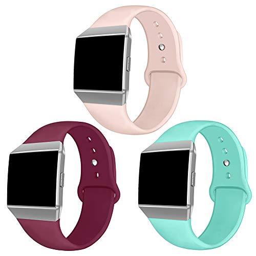 Kmasic Kompatibles Fitbit Ionic Armband, Weich Silikon Sport Gurt Zubehör Atmungsaktive Ersatz-Armbänder für Fitbit Ionic Smart Watch, Frauen M?Nner, Groß, 3 Packungen sandrosa/blaugr¨¹n/weinrot
