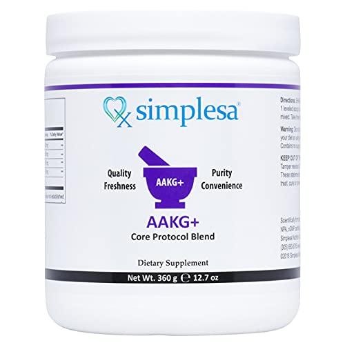 SIMPLESA NUTRITION – AAKG+ Core Powder, Arginine to Alpha Ketoglutarate 1:1 ratio, Increases Energy, Reduces Muscle Fatigue, Plus Ubiquinol (CoQ10), GABA (Gamma Aminobutyric Acid) and Niacin (Non-Flush), 360 gr.