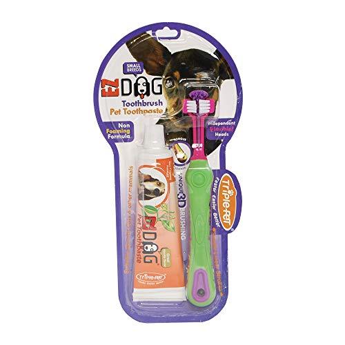 EZ Dog Pet Dental Care Brosse à dents 3 faces et dentifrice naturel pour chiens de petite race à la vanille | Les chiens aiment le goût, numéro de modèle : FF4535