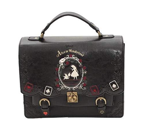 LXDDJsl Damen Handtasche Lady Umhängetasche Slanting Schultertasche Alice im Wunderland-Spielkarte Silhouette (Color : Black)