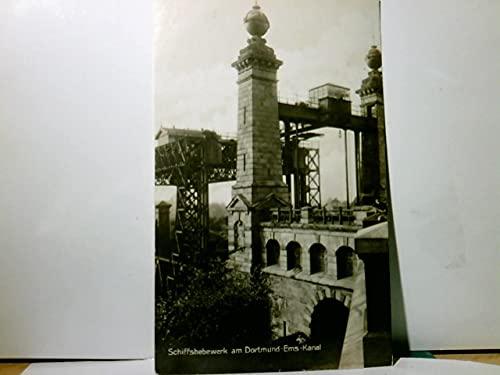 Schiffshebewerk am Dortmund - Ems - Kanal. Alte Ansichtskarte / Postkarte s/w, gel. 1934. Hebeanlage, Türme, Recklinghausen