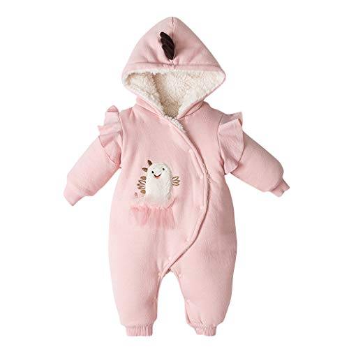 H.Eternal Baby Strampler mit Kapuze, Fleece, Cartoon-Jumpsuit, Herbst/Winter, Outfits mit Reißverschluss, dick, 0-24 Monate Gr. 0-6 Monate, Orange