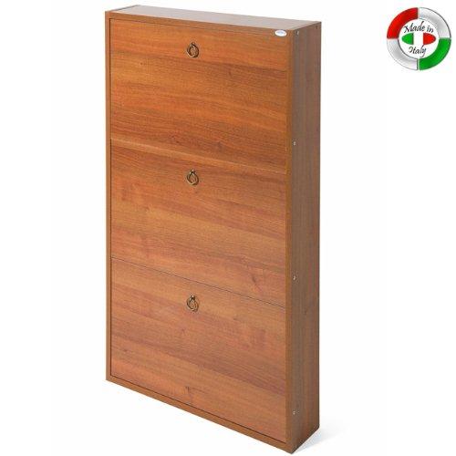 WEBMARKETPOINT Scarpiera in legno 3 noce antico cm 108x65x15 per interno
