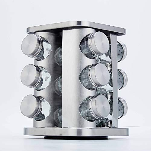 RTYUI Kruidenpotjes Peper- En Zoutstel Keuken Opbergruimte Kruidenrek RVS Roterend Kruidenrek Kruidenrek 12 St 21 * 15,5 * 15,5 cm/Roestvrij staal
