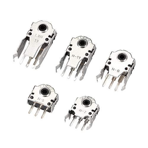 uxcell エンコーダースイッチ マウススクロールホイール リペアパーツ 5/7/9/11/13 mm 25個入