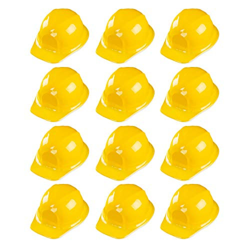 12 Pack Yellow Construction Hard Hat Plastic Birthday Party Supplies Worker Caps Set Halloween Costume Toy