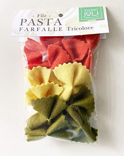 Filz Nudeln Pasta Farfalle Tricolore Schmetterlingsnudeln - wiederverschließbare Verpackung