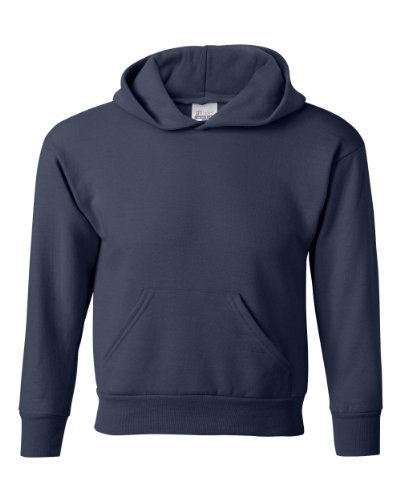Hanes Youth 7.8 oz 50/50 Pullover Sweatshirt w/hood in Navy - Large (14/16)