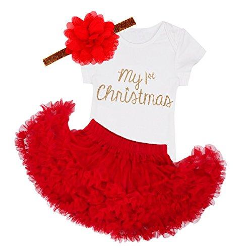 TiaoBug Vêtement Noël Déguisement Bébé Fille Body Combinaison Justaucorps Manches Courtes/Longues Cosplay Tenue Barboteuse+Tutu Jupe+Bandeau 3-24Mois Blanc&Rouge 18 Mois