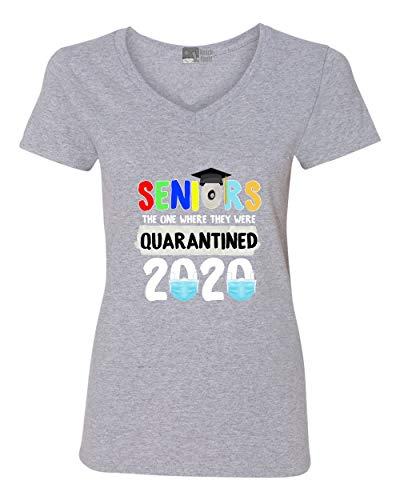 V-Neck Ladies Seniors One They were Quarantined 2020 Graduates DT T-Shirt Tee (Small, Sports Gray)