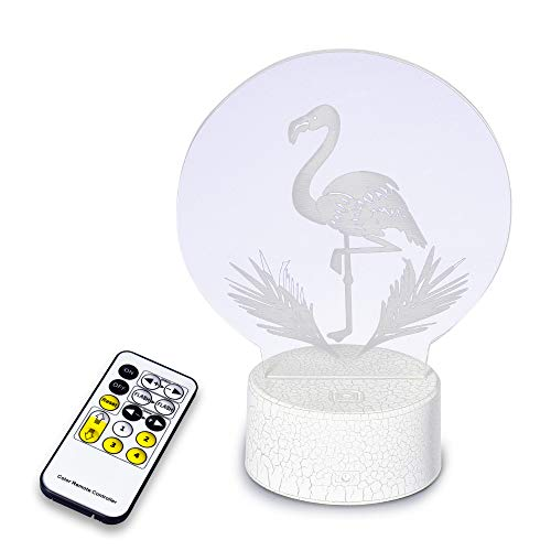 Hlearit Flamingo 3D Visual Lamp - Optical Illusion Night Light LED Energy-Saving Eye Protective Night Lamp Remote Control USB Plug-in Bedroom Desk Table Decoration Birthday Party Gift for Girls