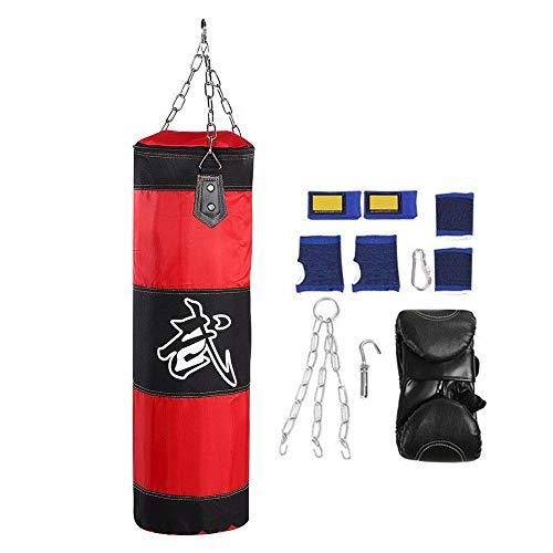Sacos de Suelo Saco de Boxeo para Artes Marciales Set de boxeo Saco de Boxeo con Cadenas,7 en 1 Entrenamiento Vacío Boxeo Gancho Kick Sandbag Lucha Karate Punch Punching Sand Bag Guantes(0.8m-