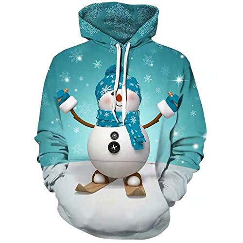 WHDJ Männer Hoodies, 3D Digitaldruck Cartoon Soft Men Hoodie Sweatshirts Mit Skiting Schneemann Männer Hooded Pullover