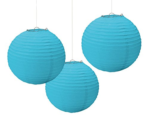"""Amscan Party Perfect Round Paper Lanterns Decorations, Caribbean Blue, 9"""", Pack of 3 Party Supplies"""