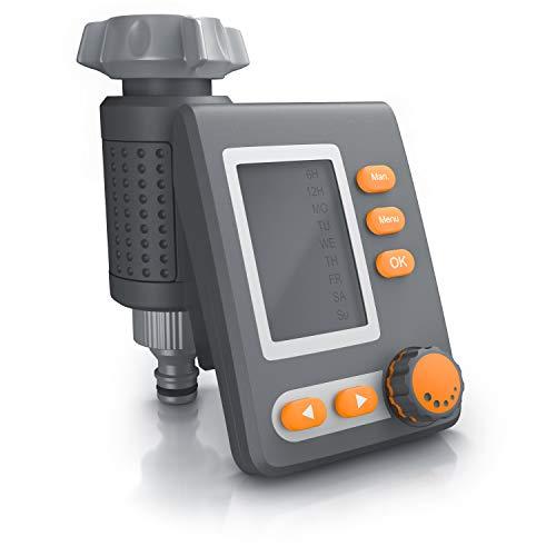 Brandson - Bewässerungscomputer digital mit Display - Wasserzeitschaltuhr - Bewässerungssteuerung - Bewässerungssystem – Bewässerungsprogramm 1 – 240 Minuten – Bewässerung 6h / 12h / tageweise