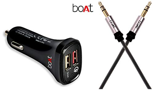 boAt Dual Port Rapid Car Charger (Qualcomm Certified) Smart Charging with Quick Charge 3.0 (Black) + boAt AUX 500 Indestructible Male to Male Metallic Aux Audio Cable with Gold Plated connectors, 1.5m