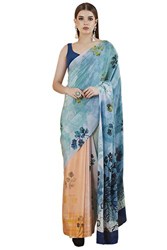 Satya Paul Crepe with Blouse Piece Saree (RD12316_02_A_Turquoise Blue_6m 50cm)