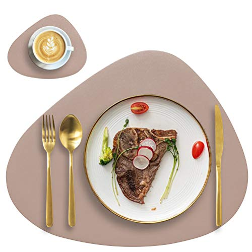 Faux Leather Placemats and Coasters Set, Round Leather for Dinner Table Mats Heat Resistant Non-Slip Washable Insulation Coffee Mats Kitchen Place Mats Nordic Style (Apricot, 2 Placemats+2 Coasters)