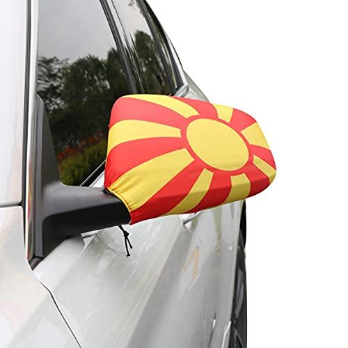 Sonia Originelli Auto Außenspiegel Fahne Set Nordmazedonien North Macedonia Bikini Flagge EM WM