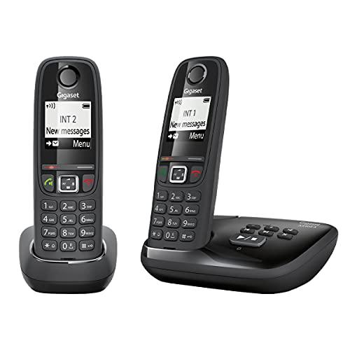 Gigaset AS405A Duo – Advanced schnurloses Heimtelefon mit Anrufbeantworter und störender Anrufsperre – 2 Hörer, glänzend schwarz