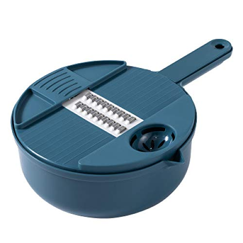 ZXY Household Multi-function Potato Shredded Vegetable Slicing Cutter Kitchen Cooking Stainless Steel Grater Egg Yolk Separator Drain Basket Tool,Blue