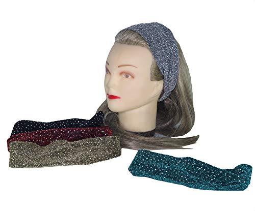 takestop® haarband, elastisch, 2 stuks, glinsterend, achterkant van ijzer, stof, kleur willekeurig
